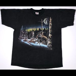 Vintage 1990's Wolf Print T-Shirt